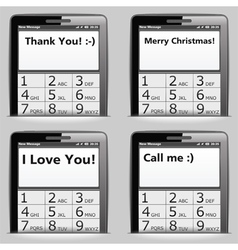 Mobile phone with messages on the screen vector image vector image