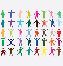 Pictogram people in different colors vector image