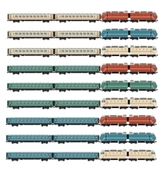 Set of passanger trains vector image vector image