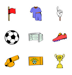 stadium icons set cartoon style vector image vector image
