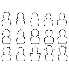 avatar outline icons set vector image vector image