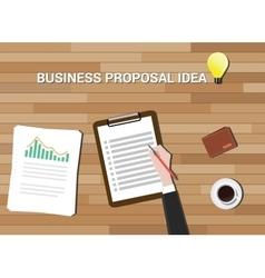 business proposal idea in work desk wood vector image vector image