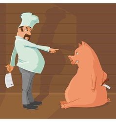 butcher and pig vector image vector image