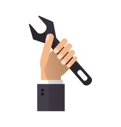 hand holding wrench support engine symbol vector image