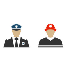 police officer and firefighter flat icon vector image vector image