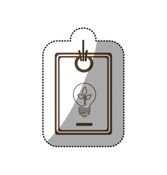 Sticker price tag of light bulb with leaf inside vector