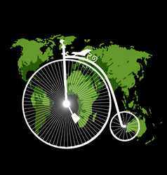 travel concept with retro bicycle vector image