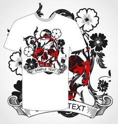 tshirt skull and flower vector image