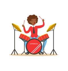 Young black woman playing on drums guy behind the vector