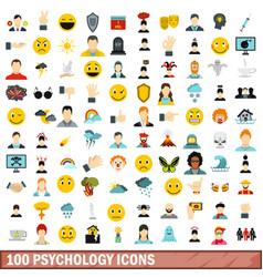 100 psychology icons set flat style vector