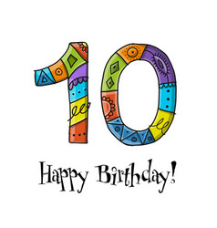 10th anniversary celebration greeting card vector image