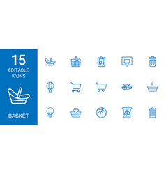 15 basket icons vector
