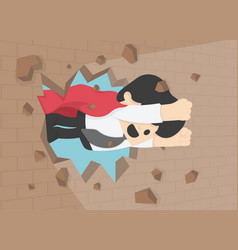 A businessman breaking t the wall business vector