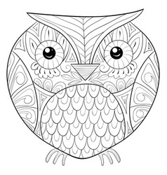 Adult coloring bookpage a cute owl image for vector