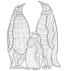 Adult coloring bookpage a family of penguins vector