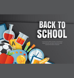 back to school banner with education items on vector image