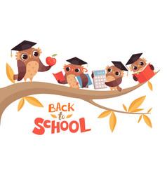Back to school cute cartoon baby owls and teacher vector