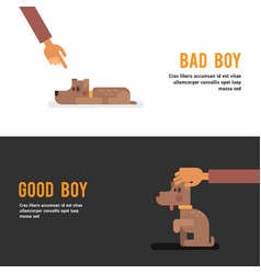 bad boy good boy web banner template with cute vector image