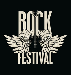 banner for rock festival with guitar and wings vector image