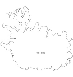 Black White Iceland Outline Map Royalty Free Vector Image