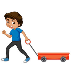 Boy pulling cart on white background vector