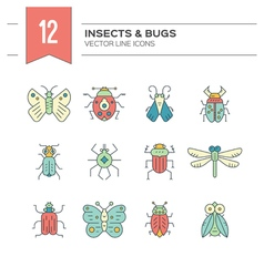Bug Linear Icons vector