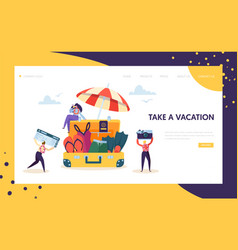 Business characters pack for vacation landing page vector