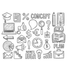 business doodles creative items for work money vector image