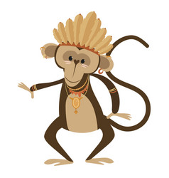 cartoon chimpanzee indian of vector image