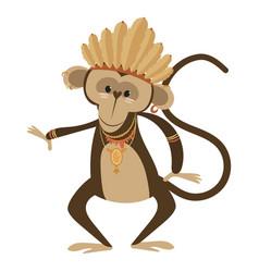 Cartoon chimpanzee indian vector