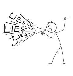 Cartoon man or politician using megaphone vector
