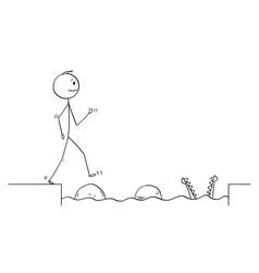 cartoon of man or businessman walking on stones vector image