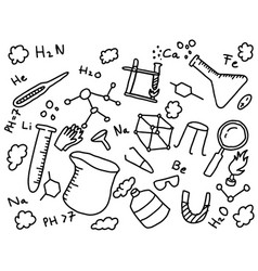 chemistry chemist doodle education art style with vector image