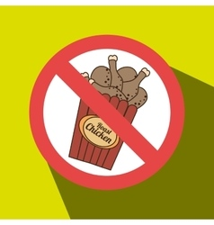 Chicken fast food unhealth prohibited vector