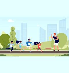 children marathon kids athlete workout run vector image