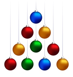 christmas balls hanging like fir tree vector image