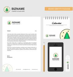 Christmas tree business letterhead calendar 2019 vector