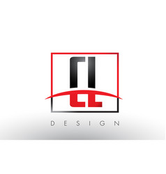 Cl c l logo letters with red and black colors and vector
