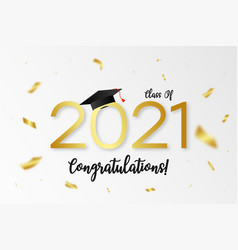 Class 2021 graduation with gold numbers vector