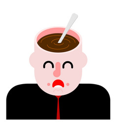 coffee in open head hot drink on your mind vector image