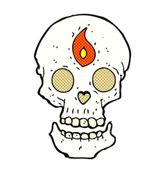 Comic cartoon mystic skull vector