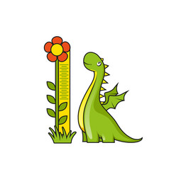 cute little dragon with height measuring scale vector image