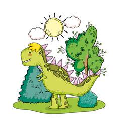 Cute tyrannosaurus rex in the landscape vector