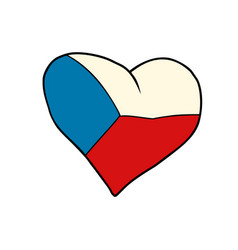 czech republic heart patriotic symbol vector image