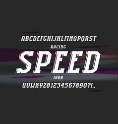 decorative italic serif font in the sport style vector image