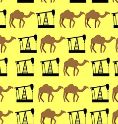 Desert camels and oil pumps seamless pattern vector image