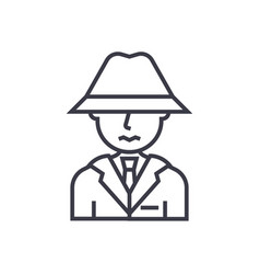 detective spy man with hat concept thin vector image