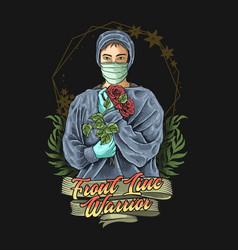 Doctor and nurse first line warrior v vector