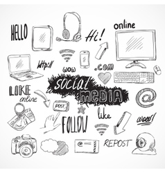 Doodle social media icons set vector image
