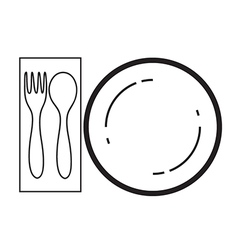 empty plate with spoon and fork vector image